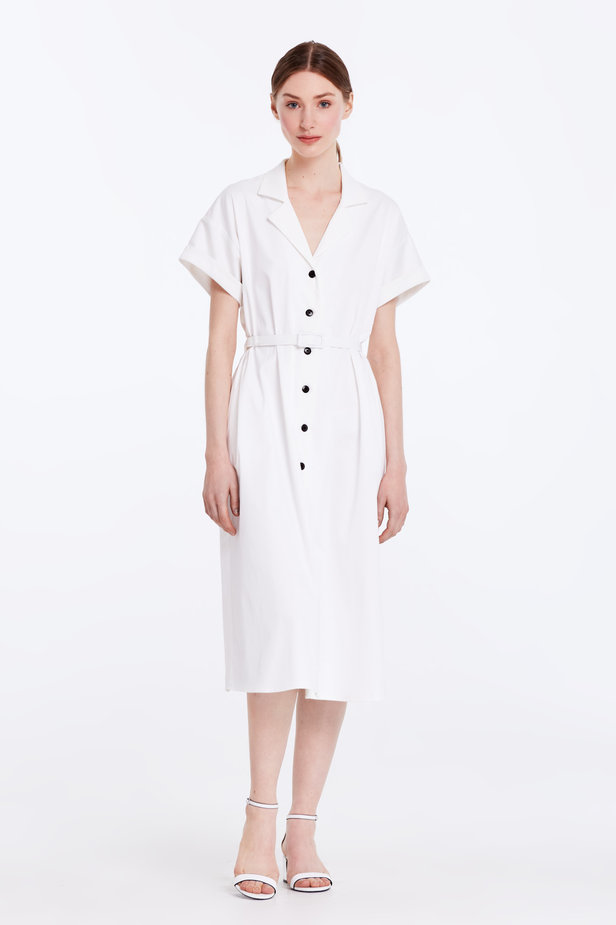 White dress with buttons and a belt photo 2 - MustHave online store