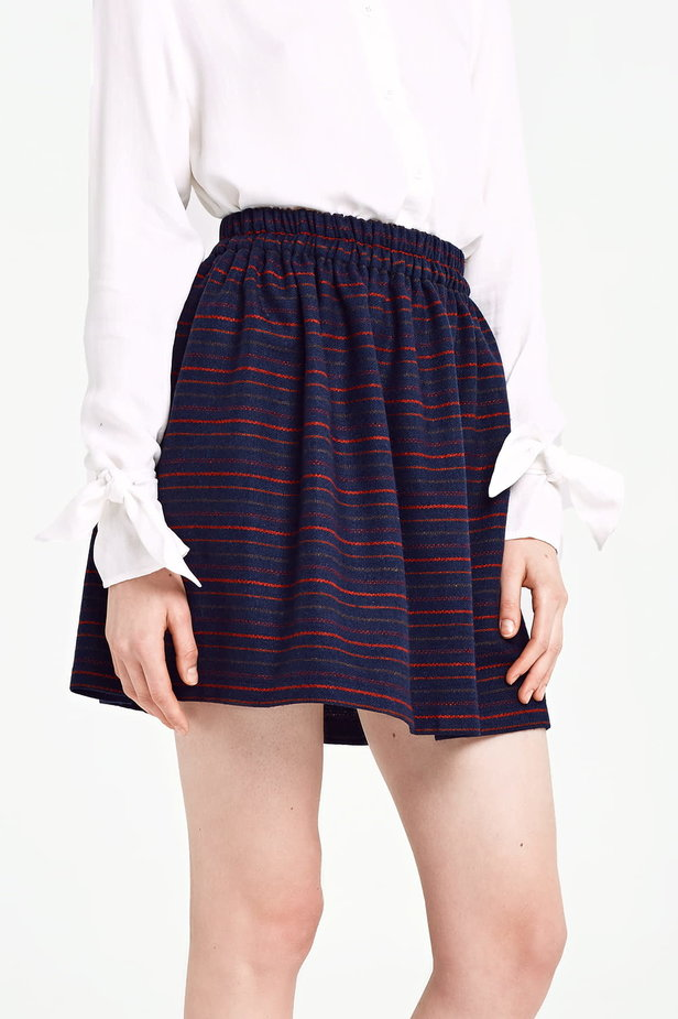 Dark blue skirt with an elastic waistband and red stripes photo 1 - MustHave online store