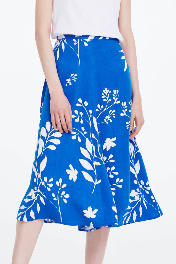 Midi blue skirt with white leaves photo 1 - MustHave online store