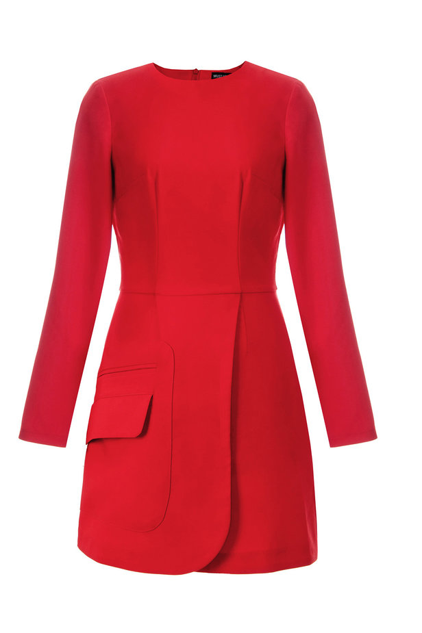 Wrap red dress with a pocket photo 8 - MustHave online store