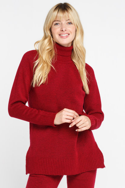 Wine turtleneck sweater with wool