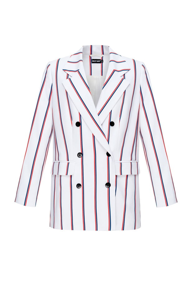 Double-breasted white jacket with blue and red stripes photo 7 - MustHave online store