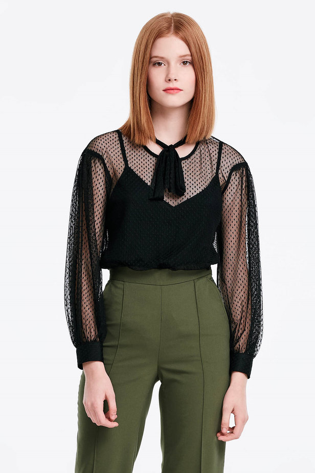 Black lace blouse with a bow photo 1 - MustHave online store