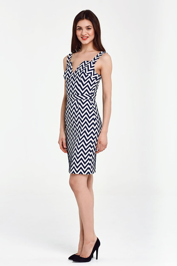 V-neck sundress with white and blue zigzag photo 3 - MustHave online store