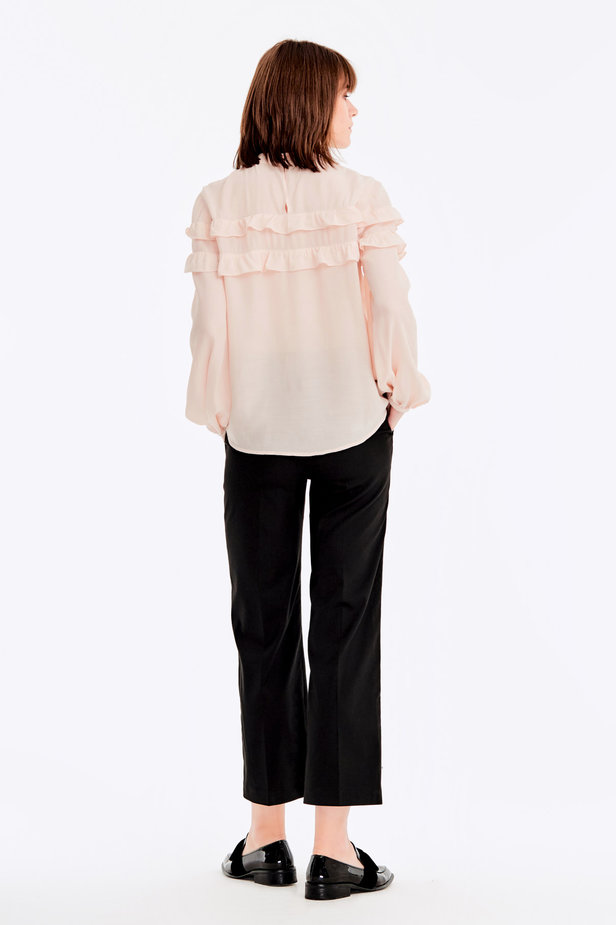Beige blouse with ruffles photo 6 - MustHave online store