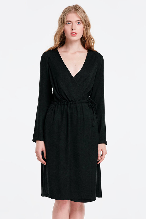 Wrap black dress photo 1 - MustHave online store