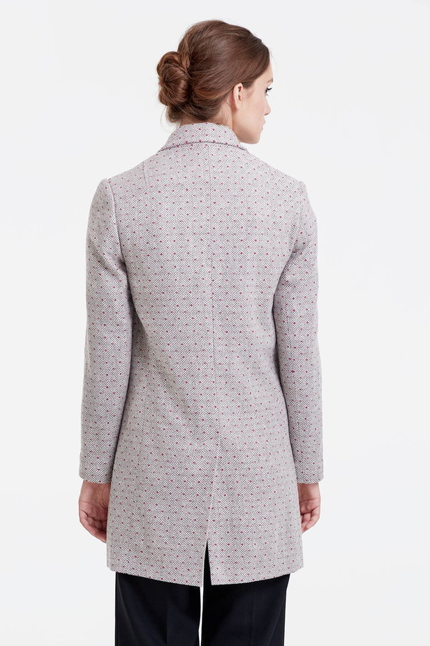 Long double-breasted jacket with rhombs and pink dots photo 3 - MustHave online store
