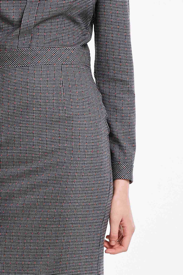 Grey shirt dress with a houndstooth print photo 2 - MustHave online store