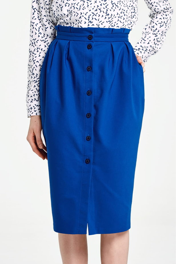 Blue skirt with buttons and ruffled belt photo 1 - MustHave online store