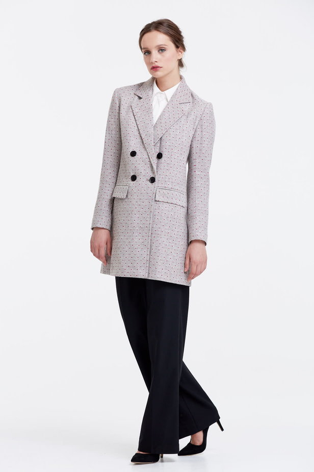 Long double-breasted jacket with rhombs and pink dots photo 2 - MustHave online store