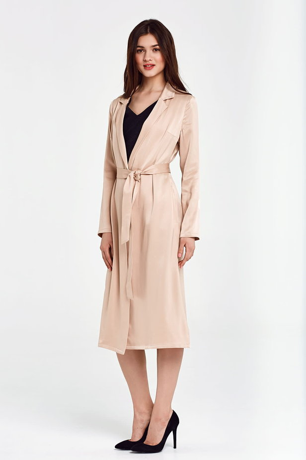 Below the knee wrap beige trenchcoat with a belt photo 5 - MustHave online store