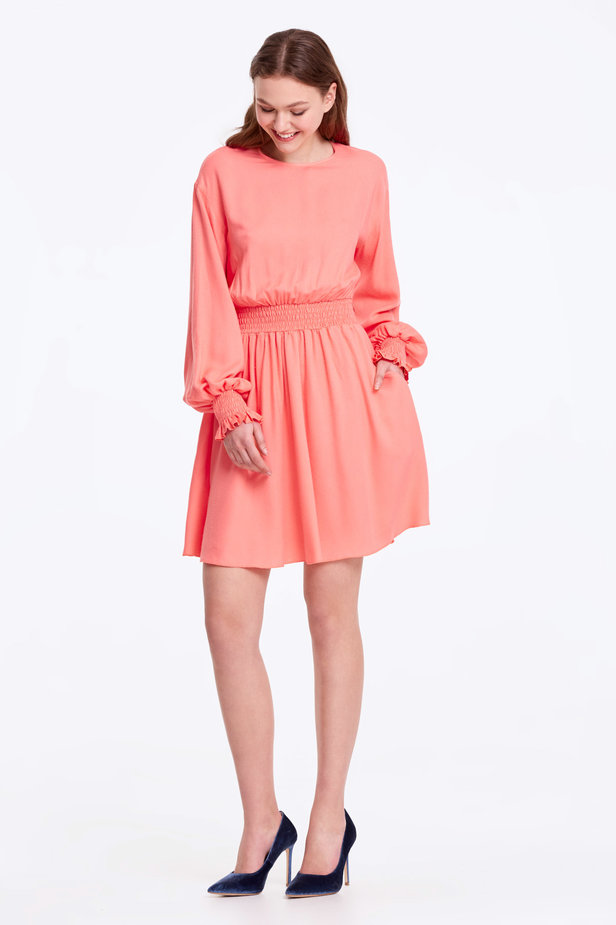Coral dress with an elastic waistband photo 6 - MustHave online store