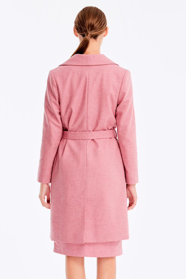 Long pink jacket with herringbone print photo 5 - MustHave online store