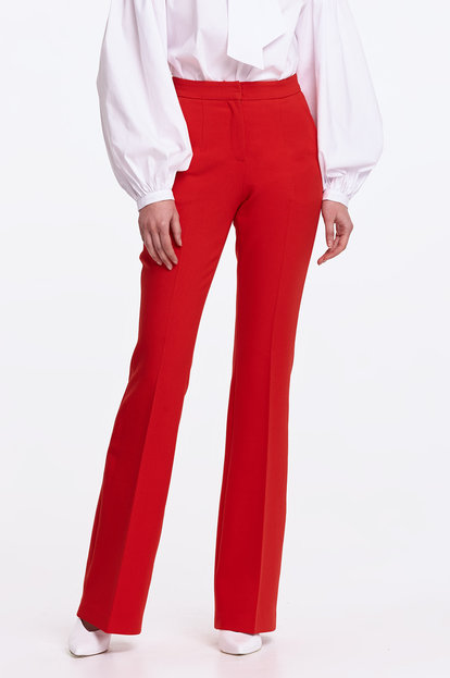 Flared red trousers