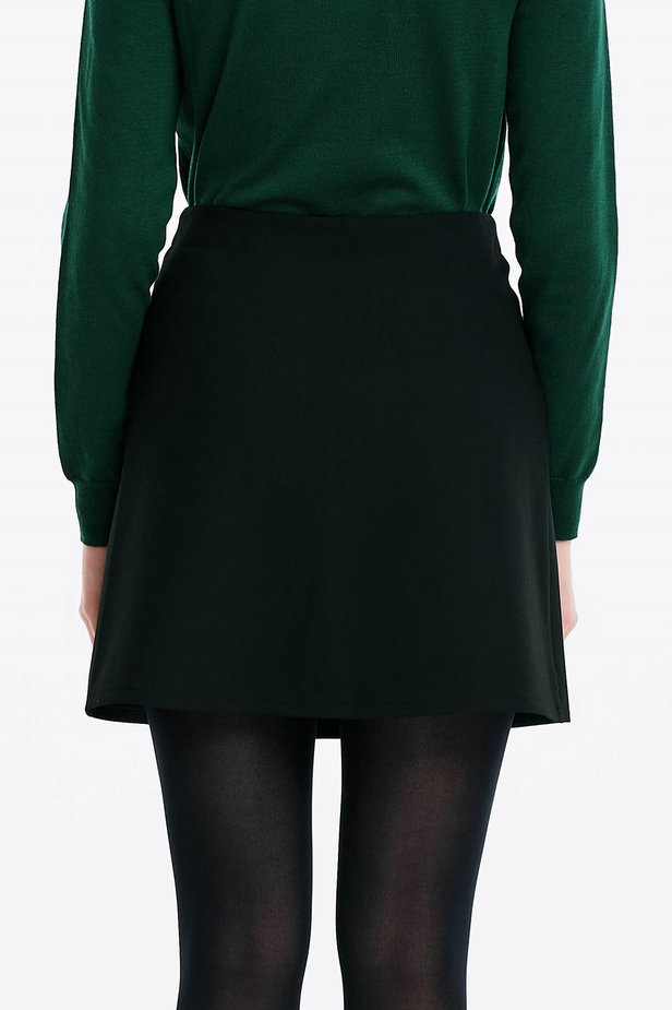 Mini black skirt with golden buttons photo 2 - MustHave online store