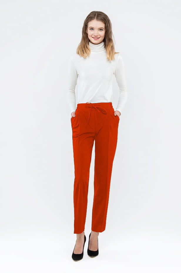 Red pants with an elastic waistband photo 4 - MustHave online store