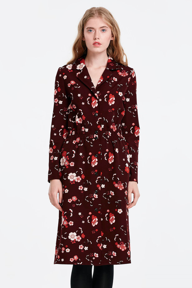 Burgundy dress with a floral print and buttons photo 1 - MustHave online store