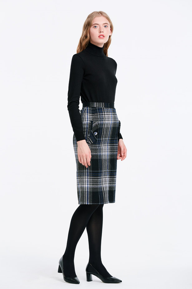 Сhecked skirt with pockets photo 3 - MustHave online store