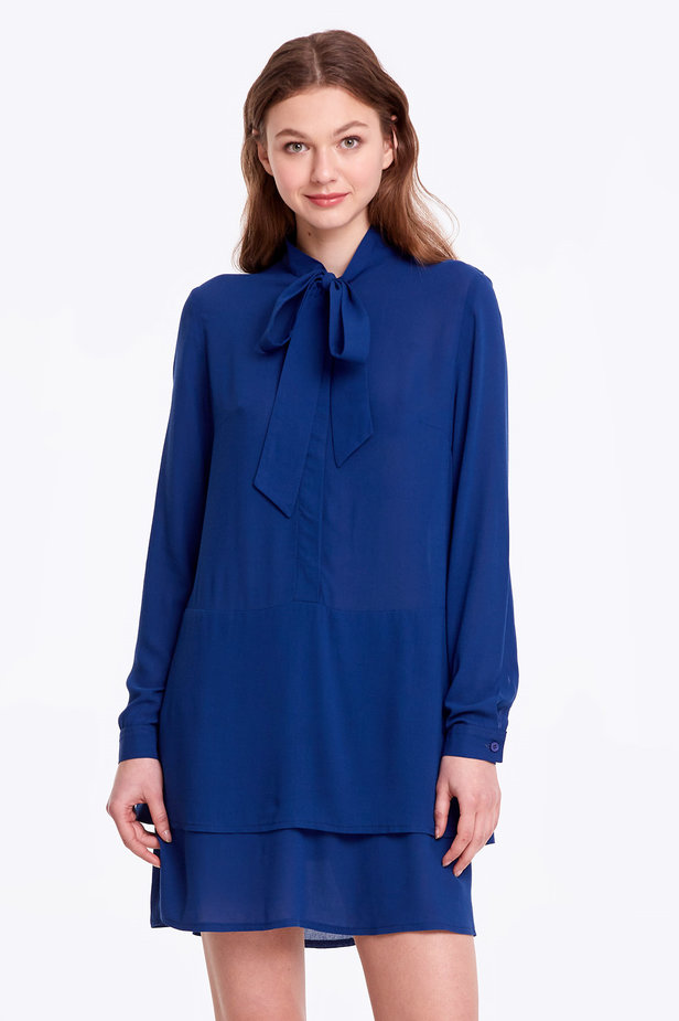 Blue dress with a bow photo 1 - MustHave online store