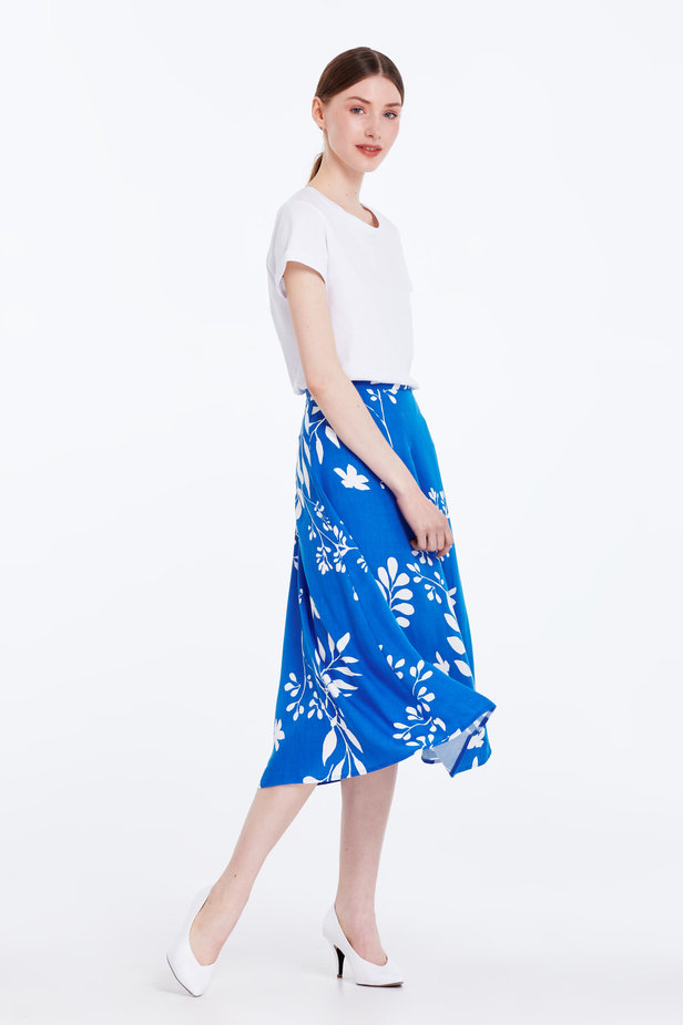 Midi blue skirt with white leaves photo 4 - MustHave online store