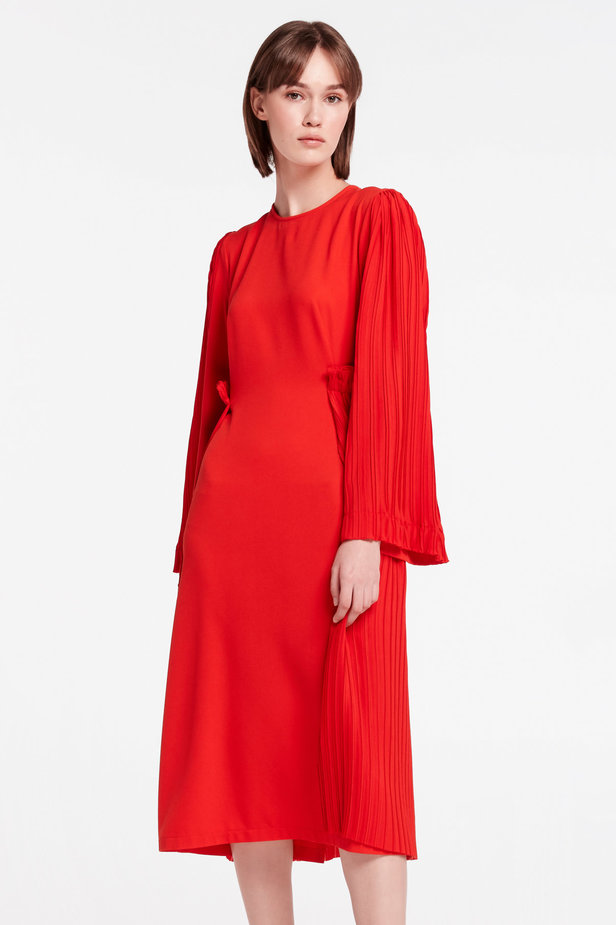 Red midi dress with pleats MUSTHAVE X LITKOVSKAYA photo 1 - MustHave online store