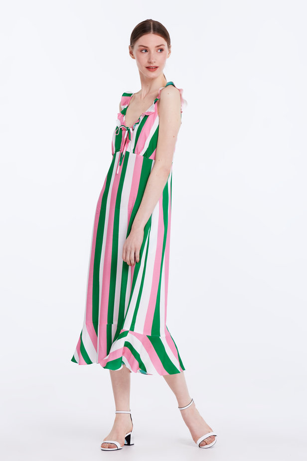 Sundress with white, green and pink stripes and a flounce photo 4 - MustHave online store