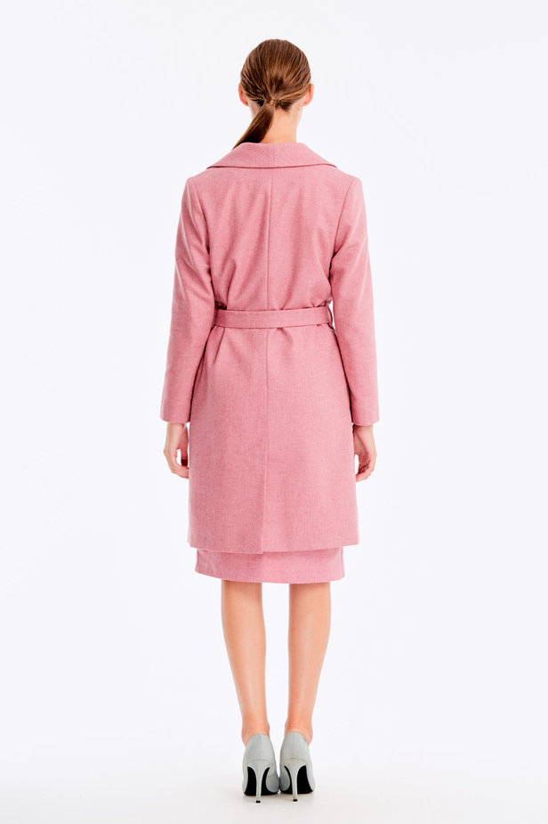 Long pink jacket with herringbone print photo 6 - MustHave online store