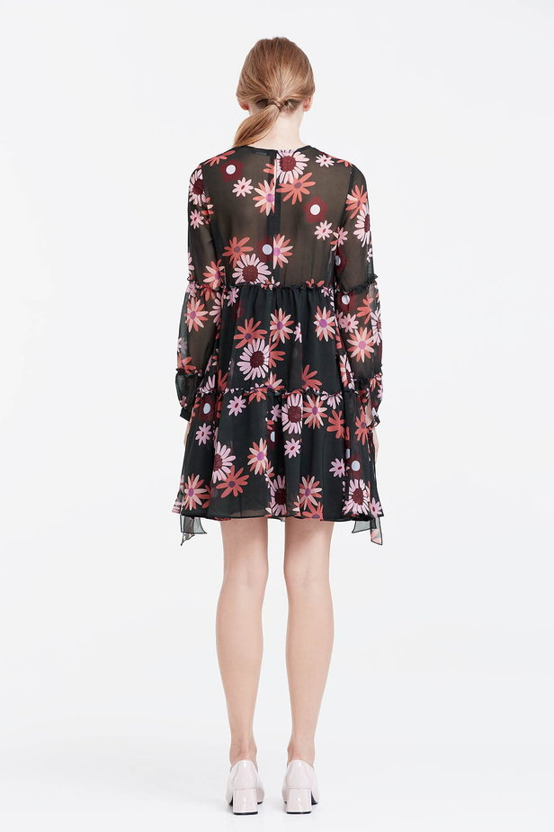 Dress with a floral print, flounces and ties photo 5 - MustHave online store