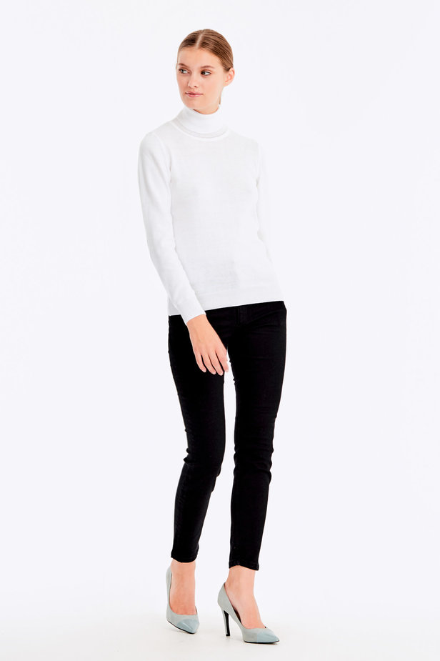 White polo neck with cotton photo 3 - MustHave online store