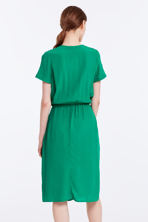 Green dress with ruffles photo 5 - MustHave online store