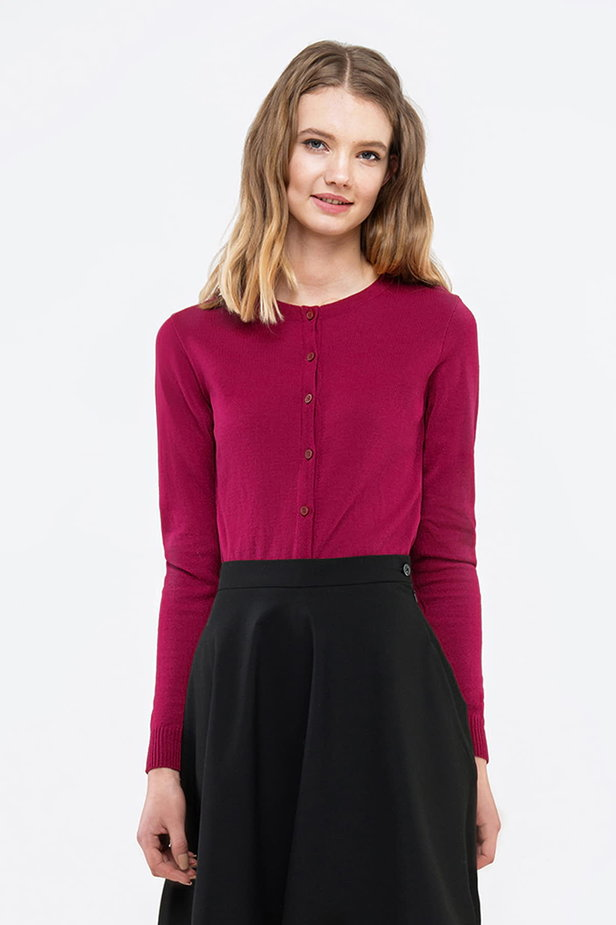 Raspberry-red sweater with buttons photo 1 - MustHave online store