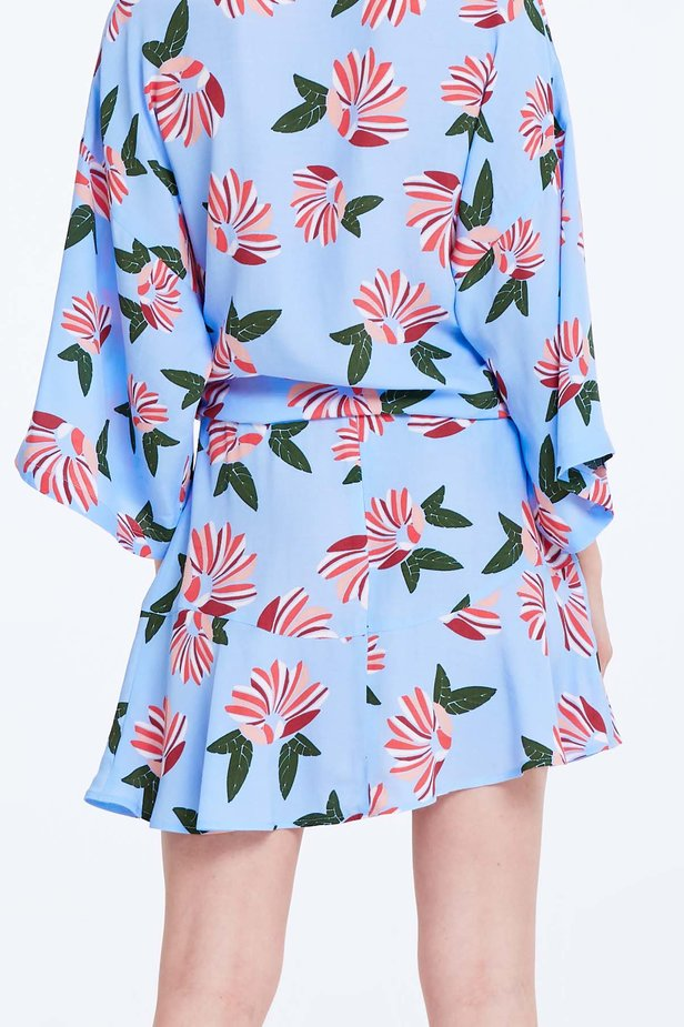 Blue skirt with a floral print and a flounce photo 6 - MustHave online store