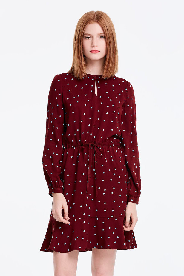 Wine dress with a blue polka dot print and a keyhole photo 1 - MustHave online store