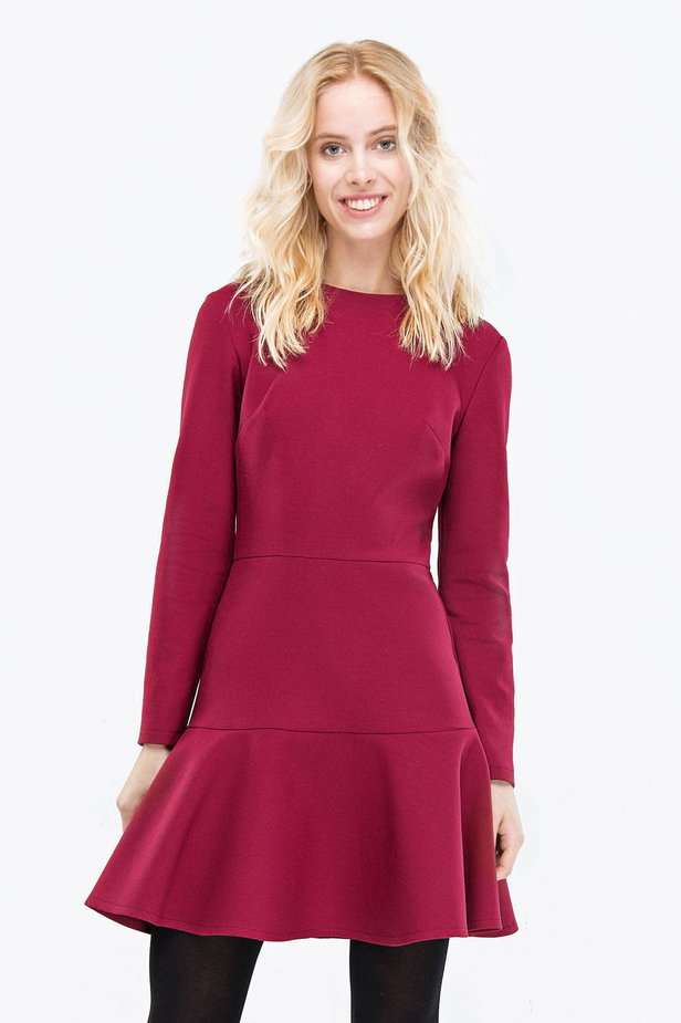 Wine-colored dress with a trumpet skirt photo 1 - MustHave online store