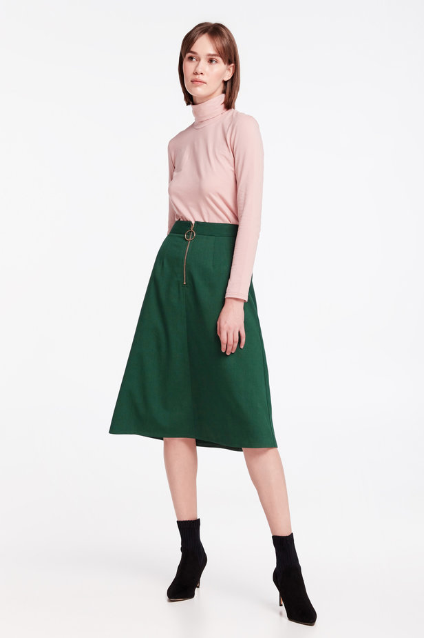 Green midi dress with a front zip photo 5 - MustHave online store
