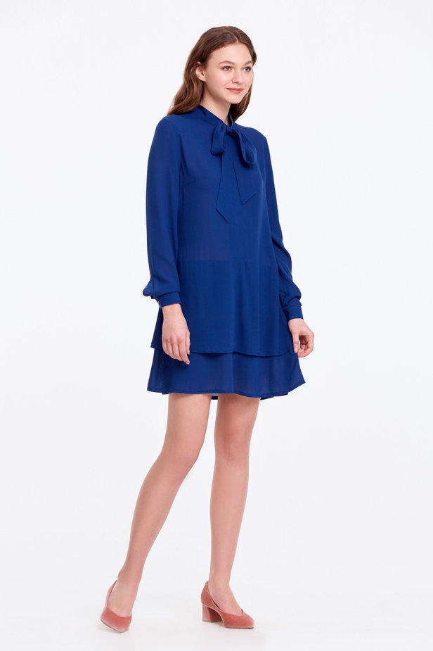 Blue dress with a bow photo 9 - MustHave online store