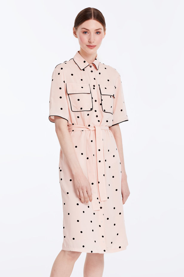 Beige dress with a black polka dot print and a black piping photo 1 - MustHave online store