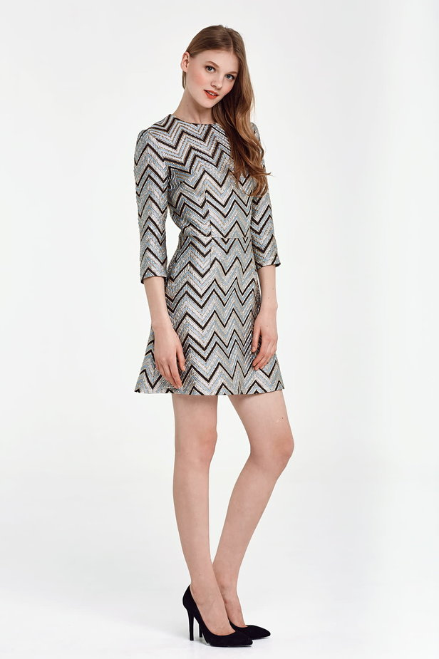 Above the knee A-line blue dress with black and gold zigzag photo 5 - MustHave online store