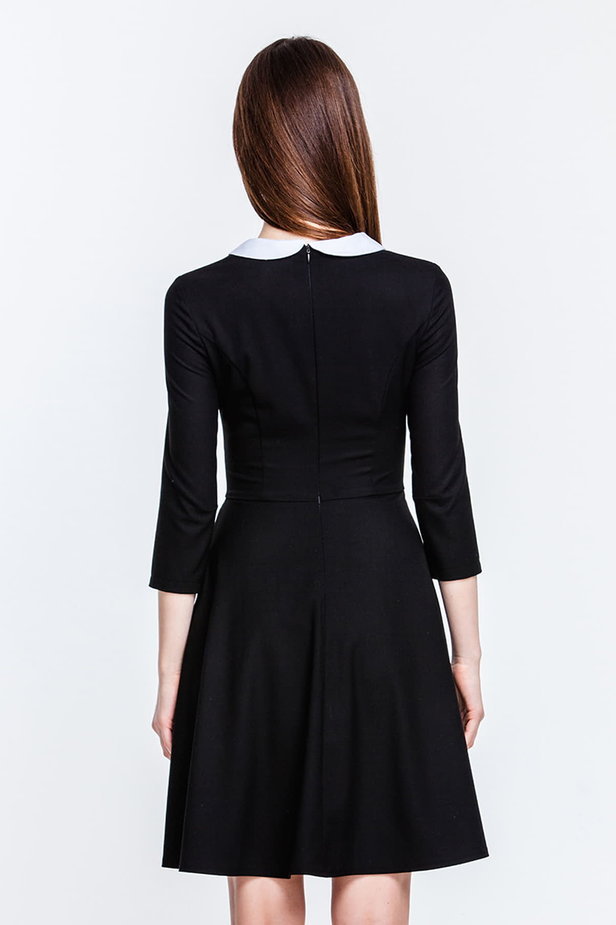 Above the knee black dress with a white collar photo 2 - MustHave online store