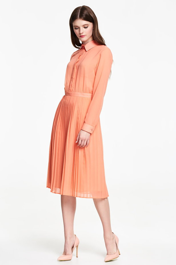 Below the knee orange shirt dress, pleated dress photo 2 - MustHave online store