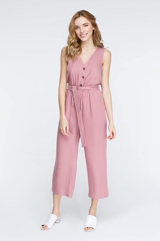 Pink jumpsuit with buttons photo 2 - MustHave online store
