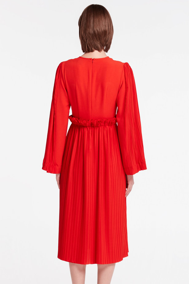 Red midi dress with pleats MUSTHAVE X LITKOVSKAYA photo 4 - MustHave online store