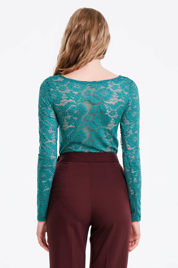 Green lace bodysuit photo 3 - MustHave online store