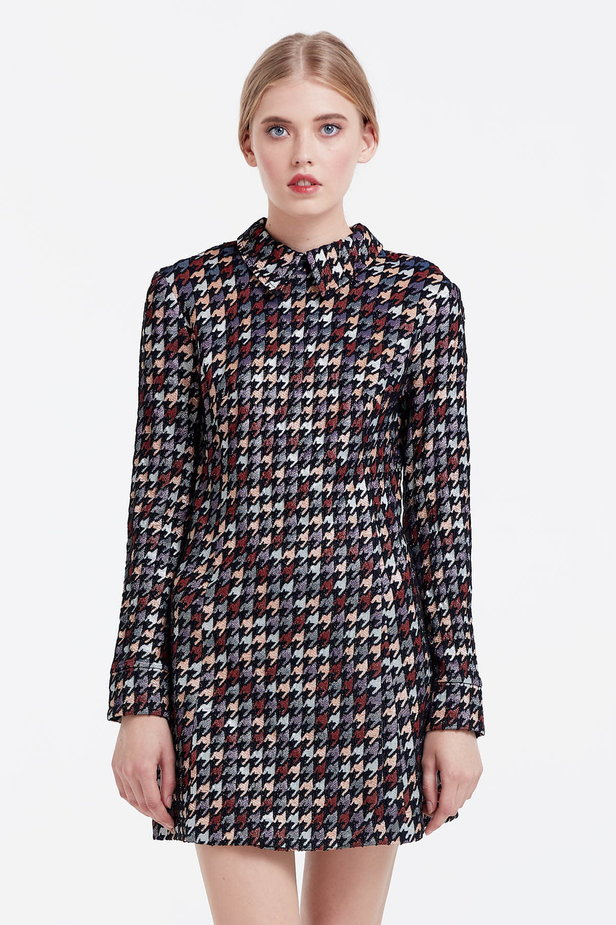 Mini dress with a houndstooth print and a collar photo 1 - MustHave online store