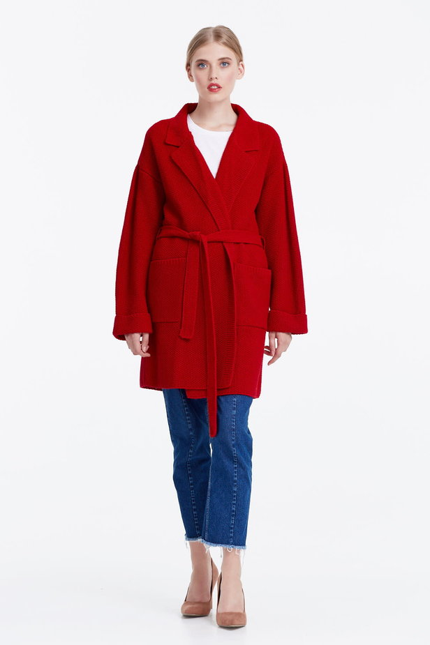 Red cardigan with a belt photo 2 - MustHave online store
