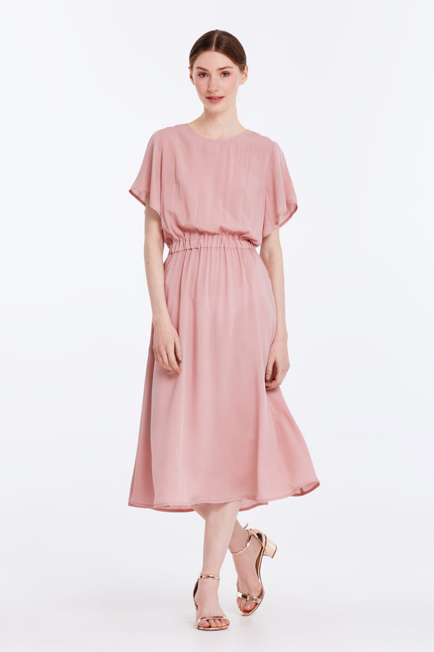 Midi powder pink dress with an elastic waistband photo 2 - MustHave online store