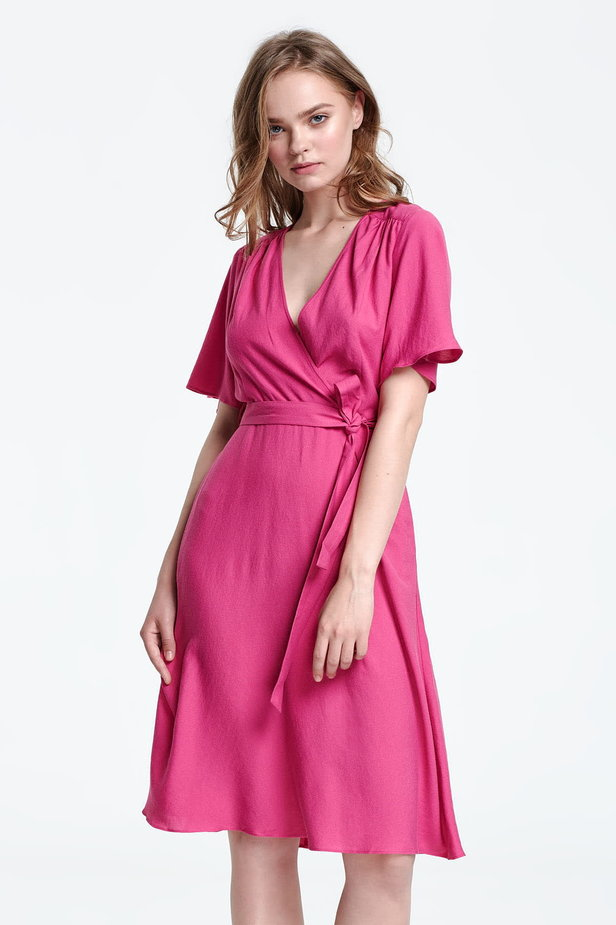Below the knee wrap fuschia dress photo 1 - MustHave online store