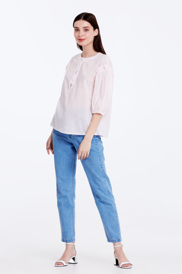 Light-pink shirt with ruffles photo 2 - MustHave online store