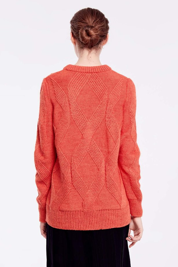 Orange free knit sweater photo 4 - MustHave online store