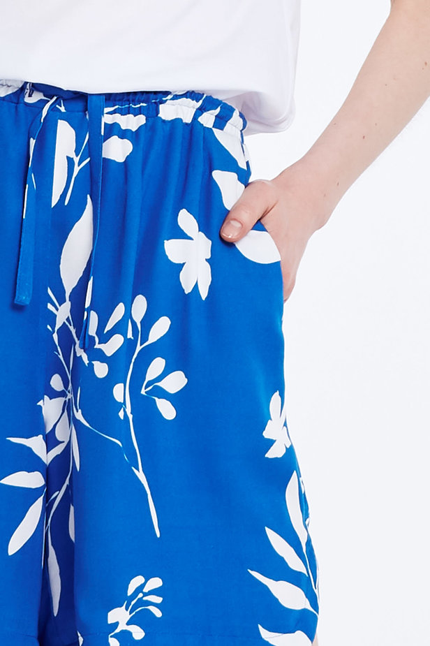 Blue shorts with white leaves photo 2 - MustHave online store